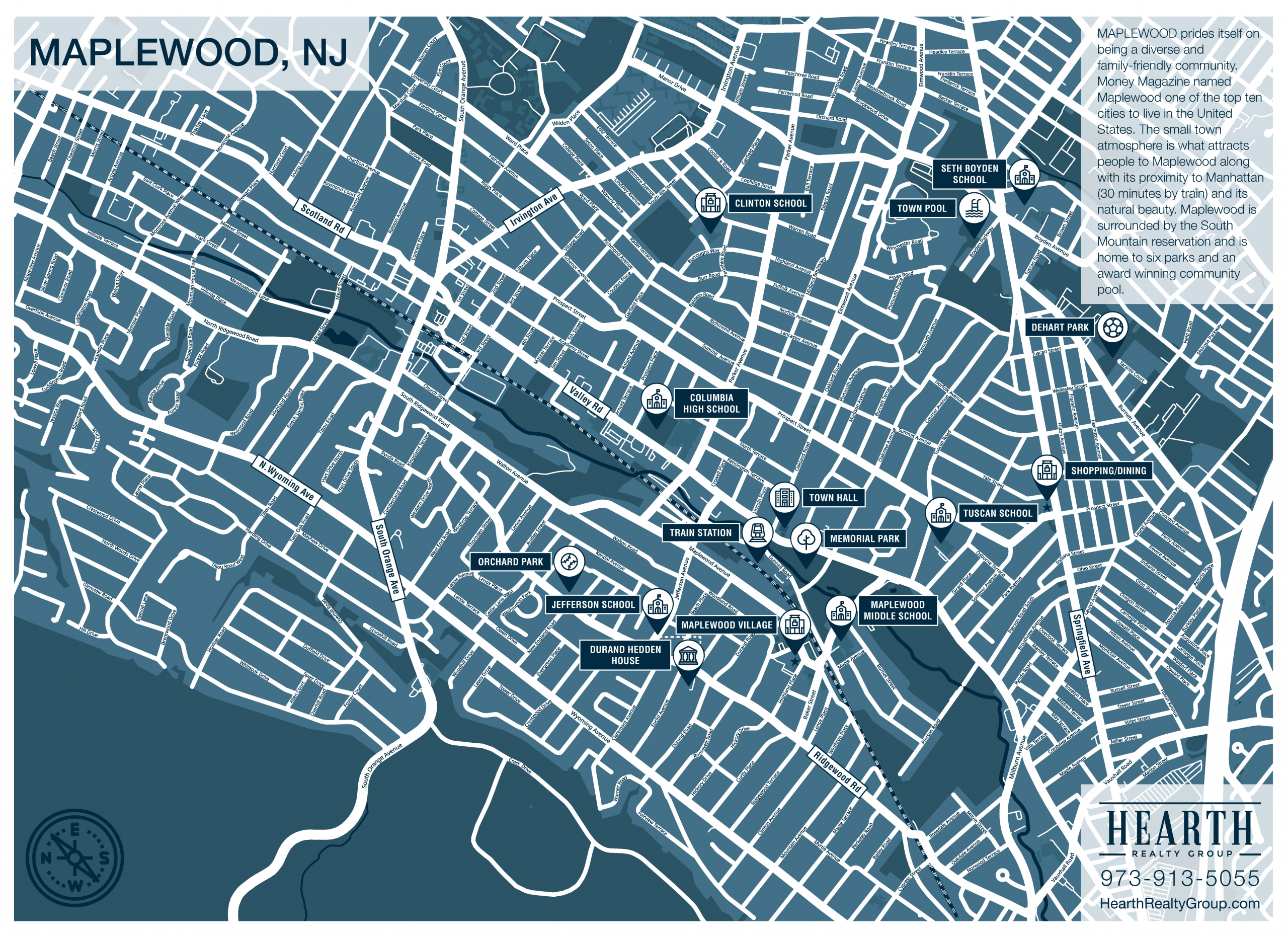 Free Printable Map of Maplewood NJ