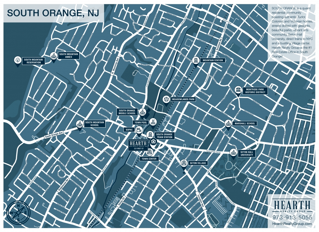 Free Printable Map of South Orange NJ